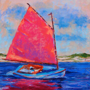 Catboat with Red Sail